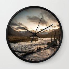 Broken Bridge Valley Dusk Wall Clock