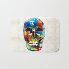 Colorful Skull Art - Aye Candy - By Sharon Cummings Bath Mat