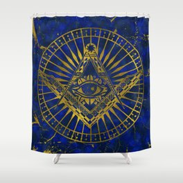 All Seeing Mystic Eye in Masonic Compass on Lapis Lazuli Shower Curtain
