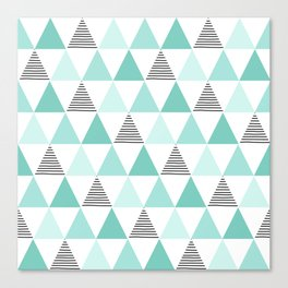 Black Stripes and Mint Triangles Canvas Print