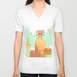 Tu-Mo Enjoys a Frozen Treat in the Floaty Lands Unisex V-Neck