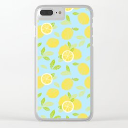Bright And Sunny And Stamped Lemon Citrus Pattern Clear iPhone Case