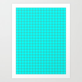 Cyan and Turquoise Diamonds Art Print