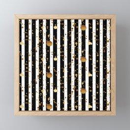 Stripes & Gold Splatter Framed Mini Art Print