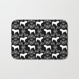 English Bulldog silhouette florals black and white minimal dog breed pattern print gifts bulldogs Bath Mat