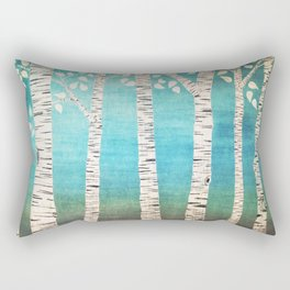 Turquoise birch forest Rectangular Pillow