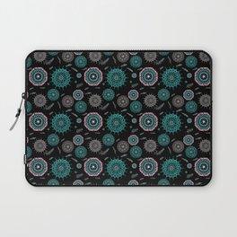 Boho black smaller turquoise mandalas Laptop Sleeve
