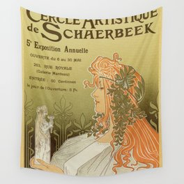 Art nouveau 1897 Artistic Club of Schaerbeek by Privat-Livemont Wall Tapestry