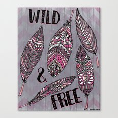 Wild & Free Feathers. Pink & Grey Edition Canvas Print