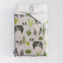 Australian Shepherd owners dog breed cute herding dogs aussie dogs animal pet portrait cactus Duvet Cover