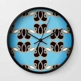 Blue Woven Heart Pattern Wall Clock