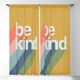 be kind rainbow - mustard Blackout Curtain