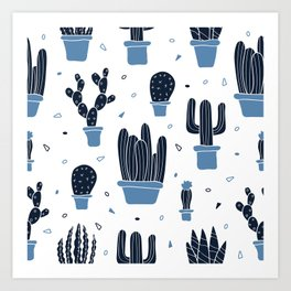 Cactus Plants Pattern- Blue Art Print
