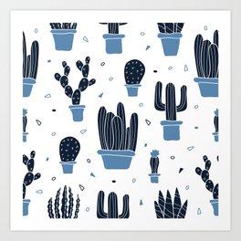 Cactus Plants Pattern- Blue Art Print