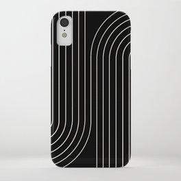 Minimal Line Curvature - Black and White II iPhone Case