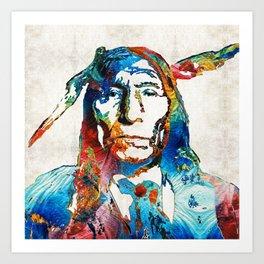 Native American Art - Warrior - By Sharon Cummings Art Print