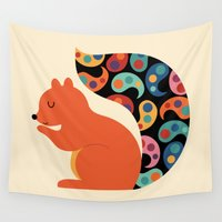 paisley Wall Tapestries featuring Paisley Squirrel by Andy Westface