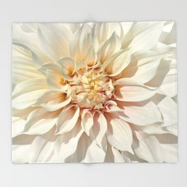 Dahlia white macro 043 Throw Blanket