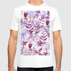 Watercolor Botanical Garden V LARGE Mens Fitted Tee White