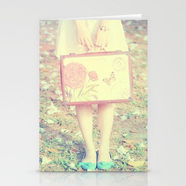 Travel Vintage Girl  Stationery Cards