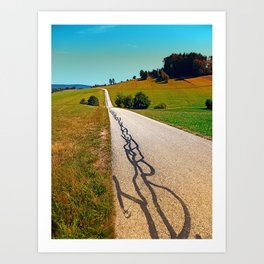 Traces of the tarmac worms Art Print