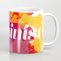 feminism Mugs featuring Feminism Watercolor by Pia Spieler