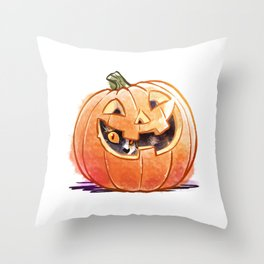 Pumpkin Spice Kitty Throw Pillow