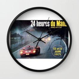 Le Mans, 24hs Le Mans 1971, original vintage poster, Le mans poster Wall Clock