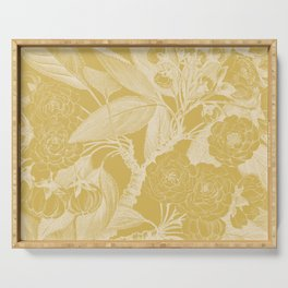 Floral, Rose, Vintage Print, Mustard Yellow Serving Tray