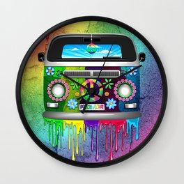 Hippie Bus Van Dripping Rainbow Paint Wall Clock