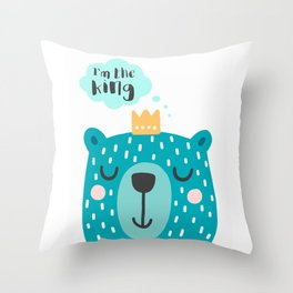 Cute Babies - I'm the king Clear Throw Pillow