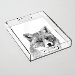 Black and White Fox Acrylic Tray