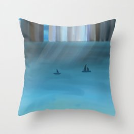 City by the Sea painting Throw Pillow