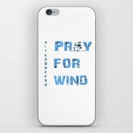 Kiteboarding Humor Kneeling Skeleton Praying For Wind iPhone Skin