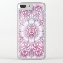Dreams Mandala in Pink, Grey, Purple and White Clear iPhone Case