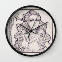 art nouveau Wall Clocks featuring Art Nouveau by Sah Matsui