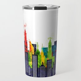 Colorful City Buildings And Skyscrapers In Watercolor, New York Skyline, Wall Art Poster Decor, NYC Travel Mug