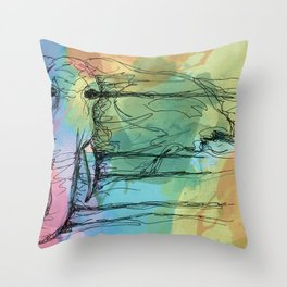 Watercolor for Elephants. Throw Pillow