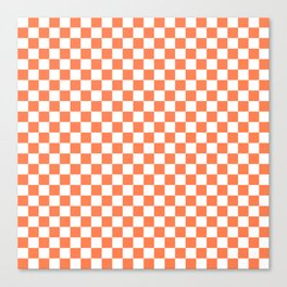Living Coral Color Checkerboard Canvas Print