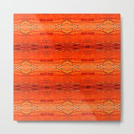 Orange Aztec Pattern 2 Metal Print