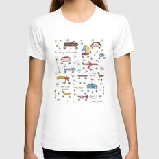 things with wheels Womens Fitted Tee SMALL White