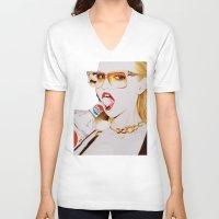 vodka V-neck T-shirts featuring Feisty Vodka Girl by Liz Slome