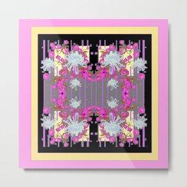 Yellow Art White Spider Mums Pink Flowers Garden Art Metal Print