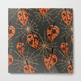 Orange Leaves With Holes And Spiderwebs Metal Print