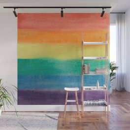 Large Hand Painted Watercolor Gay Pride Rainbow Equality and Freedom Flag Wall Mural