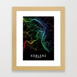 Koblenz, Germany, City, Map, Rainbow, Map, Art, Print Framed Art Print