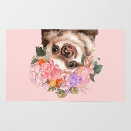 Baby Sloth with Flowers Crown in Pink Rug