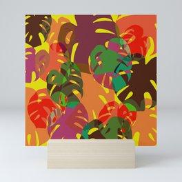 multicolored monstera Mini Art Print