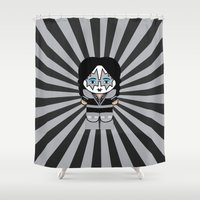 spaceman Shower Curtains featuring Spaceman / Kiss by cslagos