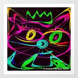 King Cat Neon Style Digital Drawing Art Print